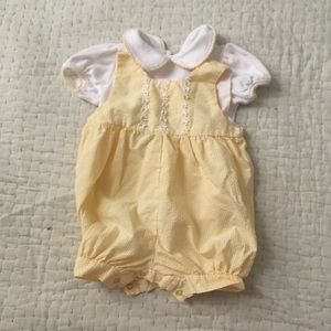 Vintage Yellow Baby Overall Bubble Romper Set